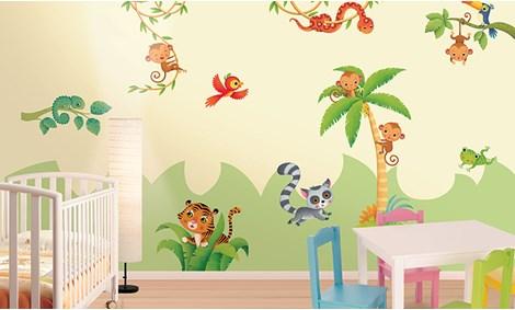 Adesivi murali giungla stickers e decorazioni leostickers for Decorazioni camerette bambini immagini